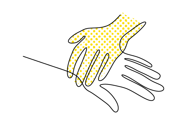 Illustration of one small hand laying on top of a larger hand